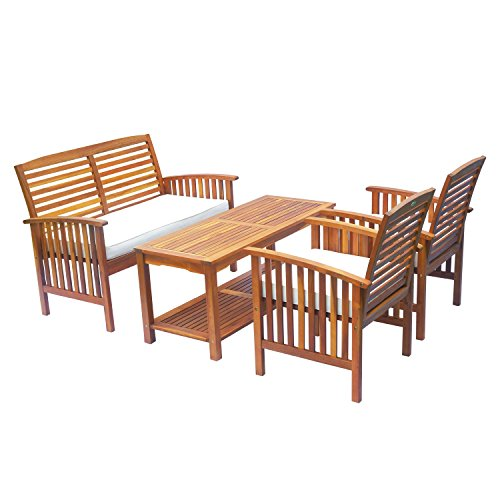 - Outsunny 4 Piece Patio Outdoor Chat Conversation Table Chair Set Acacia Wood Lounger