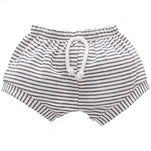 CANDYEEMMA Little Baby Girls Boys Organic Linen Stripes Shorts (Pinstriped, 100)
