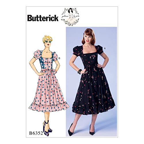 Butterick Patterns B6352 E5 Misses'/Misses' Petite Square-Neck, Zip-Front, Ruffled Dresses and Belt by Gertie, Size 14-22 ()