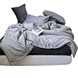 Soft Cotton Geometric Duvet Cover Set King Grey Cross Pattern Reversible Bedding Set Luxury Hotel Duvet Comforter Cover Set for Teens Men Boys 3 Piece Cotton King Bedding Collection