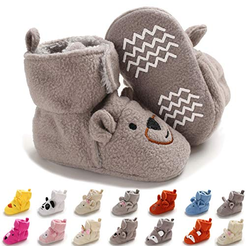 ENERCAKE Baby Newborn Cozy Fleece Booties with Non Skid Bottom Infant Boys Girls Winter Warm Slippers Socks Stay On Crib Shoes