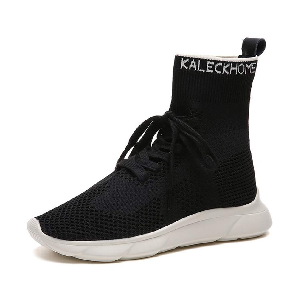 Women's Booots Knit Socks Shoes High-top Sneakers Elastic Socks Shoes Black Beige Fitness & Cross Training Shoes (Color : B, Size : 38)