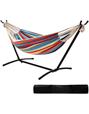 """Ohuhu 10FT Double Hammock 115""""(L) x 48""""(W) with Space Saving Steel Stand Includes Portable Carrying Case Up to 450lbs Capacity"""
