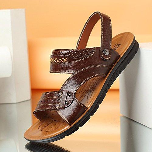 Männer Schuh Breathable echtes Leder Strand Schuh Jugend Sandalen Rindsleder Dual Use Flip Flop Männer Casual Schuhe, braun, UK = 7, EU = 40 2/3