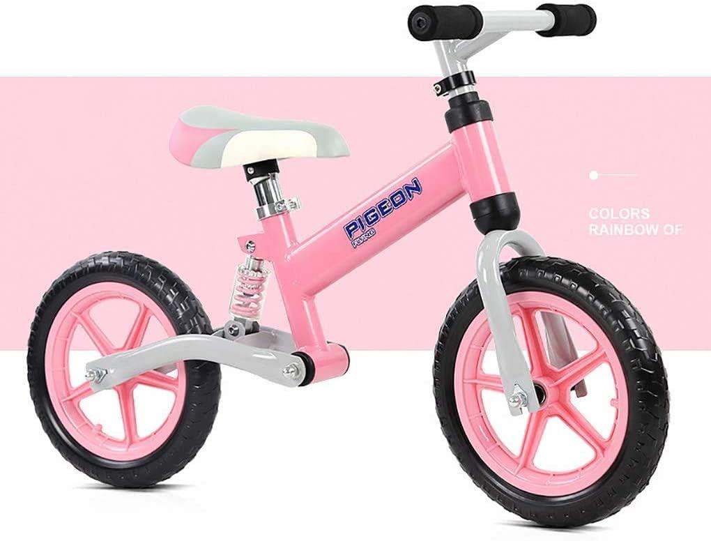 XIUYU Equilibrio Rosa Bici for 2-6 años Que Caminan del Deporte de la Bici con n Pedal 2 Rueda Espuma del Asiento Ajustable Amortiguador de Acero al Carbono de Bicicletas Correr Mejor Regalo