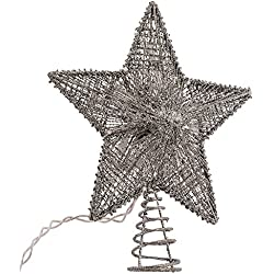 Kurt Adler 10-Inch Silver Star Treetop with 10 Mini UL Lights