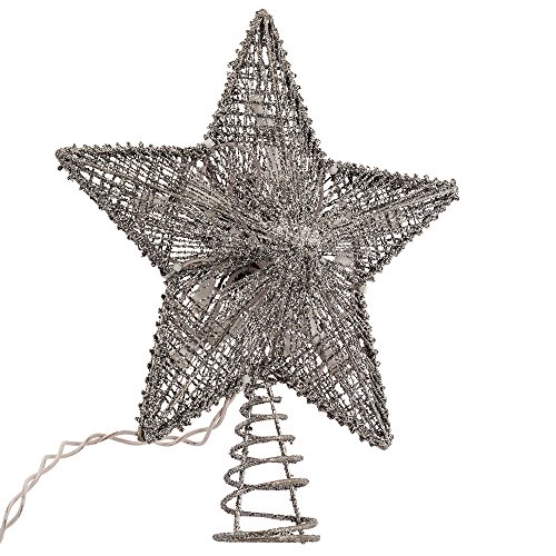 (Kurt Adler 10-Inch Silver Star Treetop with 10 Mini UL Lights)