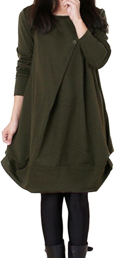 TALLA XL. OverDose Vestidos Mujer sólido Flojo Manga Larga Casual Fiesta M-XXL Verde