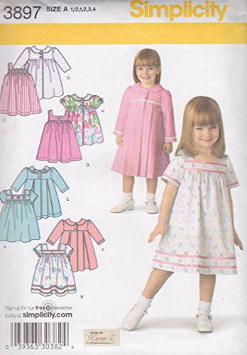 Simplicity Toddlers' Dress and Coat Pattern 3897, Size A: 1/2, 1, 2, 3, 4