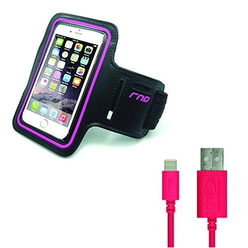 RND Power Solutions Apple Certified Lightning To Reversible Usb 6Ft Cable And Slim-Fit Active Sports Armband Case For IPhone (7, 6S, 6, 5S, 5, 5C, Se) And IPod Touch (Black/Pink)