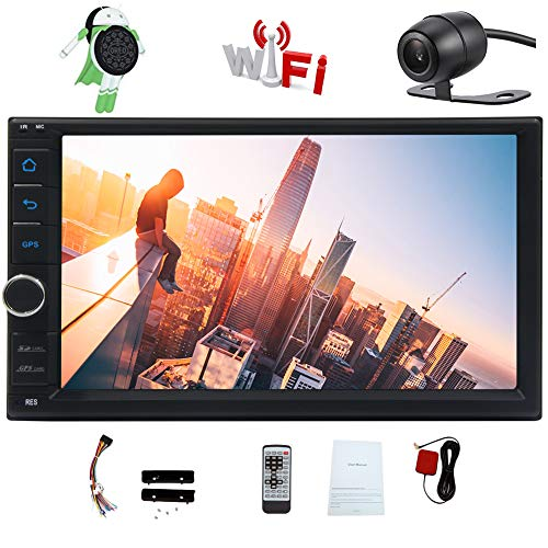 Octa-core Car Stereo Android 8.1 Oreo Head Units 7 Inch Capacitive Touch Screen Double 2 Din Car GPS Navigation Radio support Bluetooth OBD2 DVR 4G WIFI 1080P Video Subwoofer Video Out + Backup Camera