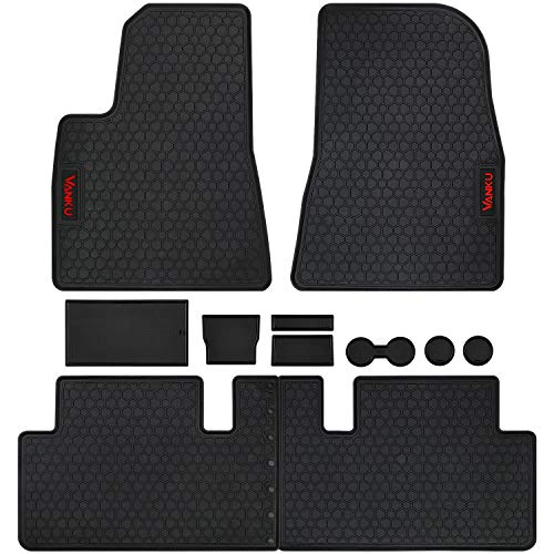 Vanku Floor Mats for Tesla Model 3 2017-2018-2019 with Cup and Center Console Liner Accessories Black Rubber