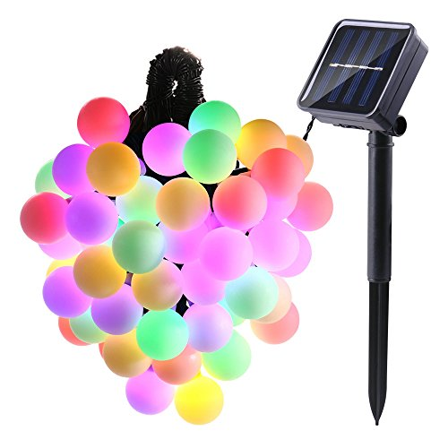 LUCKLED Orb Solar Powered String Lights, 21ft 50 LED Ball String Lights, Decorative Lighting for Indoor/Outdoor, Home, Garden, Patio, Sward, Easter Day, Party and Holiday Decorations(Multi-Color)