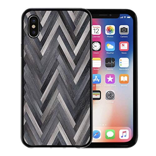 Semtomn Phone Case for Apple iPhone Xs case,Chevron Wood Parquet Herringbone Various Arrow Ashwood Beechwood Dark for iPhone X Case,Rubber Border Protective Case,Black