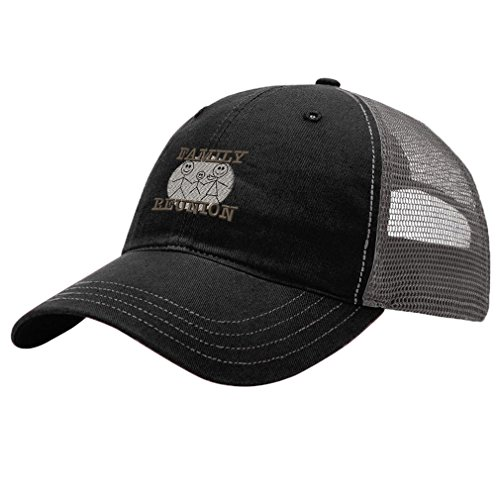 Speedy Pros Family Reunion Embroidery Design Richardson Cotton Front and Mesh Back Cap Black/Charcoal - Family Reunion Hats