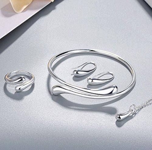 Fashion 925 Sterling silver women party Water Drop Bracelet Necklace Earring Ring Set