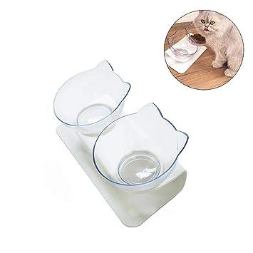 Blue-Yan Cuencos elevados para Mascotas para Perros y Gatos: Comida elevada elevada Transparente y Agua para Gatos Comederos Antideslizantes de pie ○ 2 ...