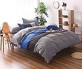 YOUSA 3-Piece Striped Bedding Set Fashion Men's Boys Bedding Duvet Cover Set Blue Queen