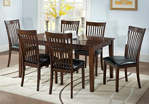 1PerfectChoice Caroline 7 pcs Dining Set Solid Wood Table PU Seat Chairs Slats Back Cappuccino