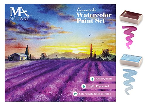 Komorebi Japanese Watercolor Paint Set - 40 colors - including Metallic and Neon - Artist quality - Richly pigmented- Perfect for artists, students or hobbyists - MozArt Supplies