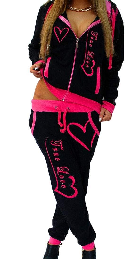 Qiangjinjiu Women 2Pcs Pullover Sweatshirt+Sweatpants Set Gym Outfits Tracksuit
