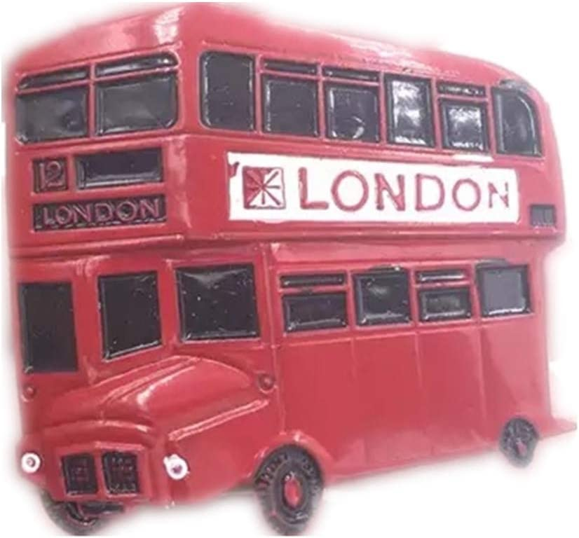 2 x 3d metallic fridge magnets london bus and phone box