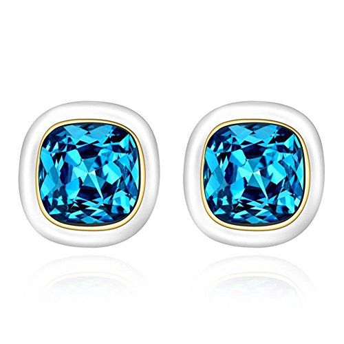 Square Blue Studs In Europe And America Ladies Of Fashion Earrings Everyday Earrings