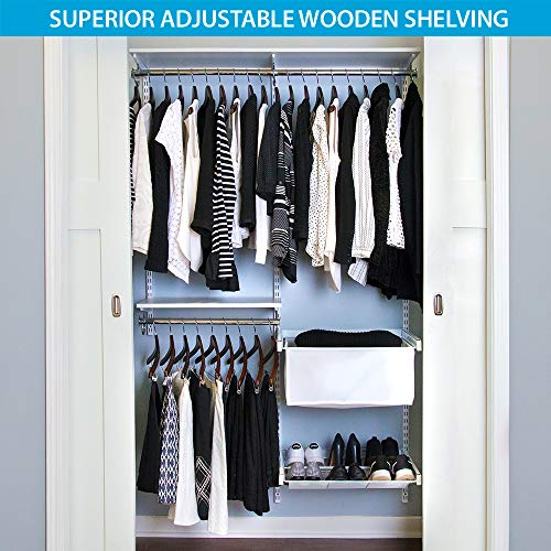 Organized Living freedomRail Premium Adjustable Closet Organizer Kit, 48'- 52',White