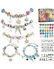 Aojun 89 Pcs Charm Bracelet Making Kit , DIY Charm Bracelets Snake Chain Beads for Children-Ages 6~13, Jewelry Charms, Bracelets for DIY Crafts, Jewelry Gift for Girls and Beginner-Children's Day