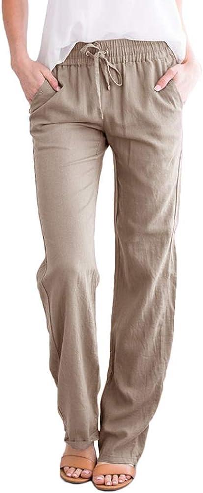 ORANDESIGNE Donna Pantaloni Gamba Larga Donna Estate Pantaloni di Svago Panno di Lino da con Fascia Elastica