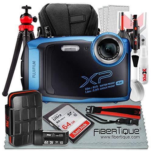 Fujifilm FinePix XP140 Waterproof Wi-Fi Digital Camera (Blue) XP140 + 64GB + Cases + Tripod + Deluxe Accessories - Design Optical 5x Zoom Lens