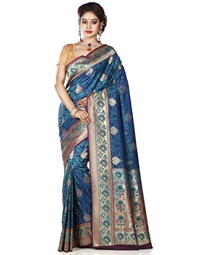 Maahir Garments Exclusive Indian Ethnicwear Royel Blue Coloured Banarasi Silk Uppada Saree by Maahir Garments