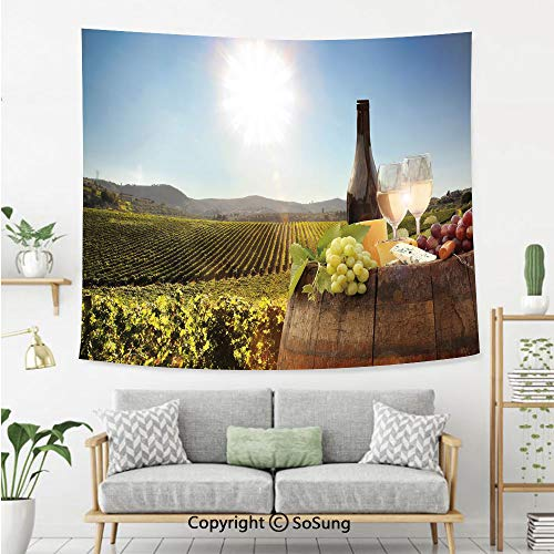 SoSung Wine Wall Tapestry,White Wine with Barrel on Famous Vineyard in Chianti Tuscany Agriculture Decorative,Bedroom Living Room Dorm Wall Hanging,80X60 Inches,Green Brown Light Blue