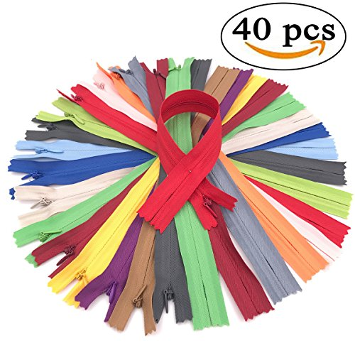 40Pcs Nylon Coil Invisible Zippers for Dresses, Bags, Skirts, Pillows, Sewing Craft 9 Inch 20 colors (2Pcs per Color) (Mix 20 - Von Zipper Online
