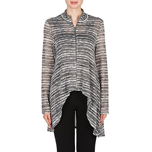 Joseph Ribkoff Zip Front Light-Weight Knit Top With High-Low Hem Style 173904 Size 10
