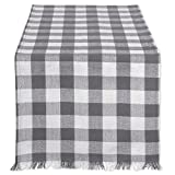DII Cotton Woven Heavyweight Table Runner with Decorative Fringe for Spring, Summer, Family Dinners, Outdoor Parties, & Everyday Use (14x108'') Gray Check