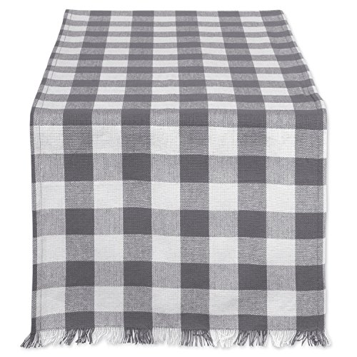 Dii Cotton Woven Heavyweight Table Runner With Decorative Fringe For Spring Summer Family Dinners Outdoor Parties Everyday Use 14x108 Gray Check