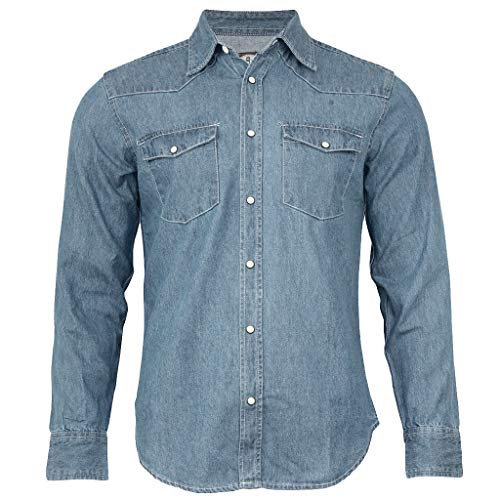VEZAD Denim Cotton Double-Pocket Shirt Men Long Sleeve Blue Work Slim Fit ()
