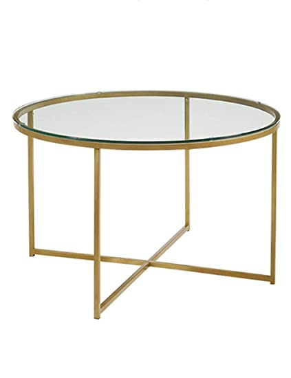 Living Room Coffee Table Wrought Iron Side Table Tempered Glass