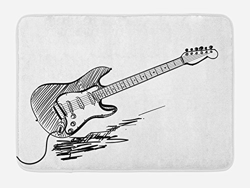 Ambesonne Guitar Bath Mat, Hand Drawn Style Electric Guitar on White Backdrop Rock Music Accords Sketch Art, Plush Bathroom Decor Mat with Non Slip Backing, 29.5 W X 17.5 L Inches, Black White