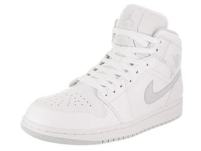 Air Jordan Retro 1 Mid Retro Basketball White/Pure Platinum/White 554724 108