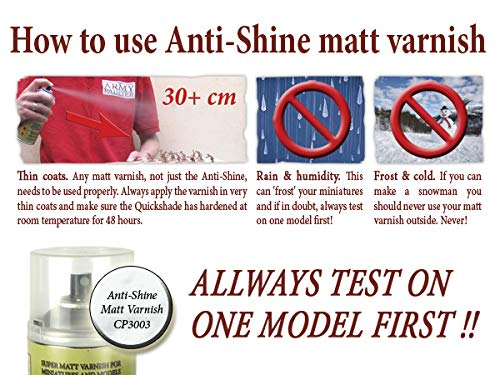 The Army Painter Anti Shine Matt Varnish for Miniature Painting - Acrylic  after Quickshade Protector Spray Varnish for Miniatures