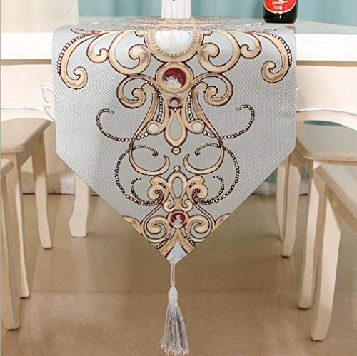 Table Runner Soft Polyester Classical Simple Embroidery Luxury Refined Tassels Reusable No Fade Home Decor