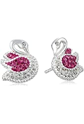 "Betsey Johnson ""Ballerina Rose"" Pave Swan Stud Earrings"
