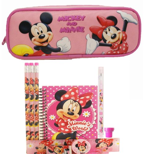 Disney Minnie Mouse Pencil Case with Stationery Set - Pink