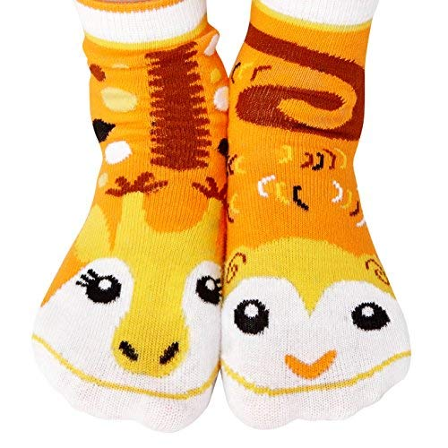 Monkey & Giraffe Jungle Animal Pals Mismatched Fun Modern Geometric Socks for Kids Boys Girls Toddlers with Nonskid No Slip Grips (Age 1-3)