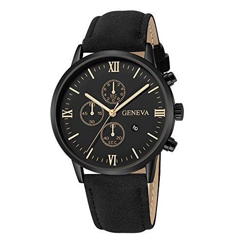 Men's Wrist Watches,Fashion Geneva Men Date Alloy Case Synthetic Leather Analog Quartz Sport Watch(Black) (Geneva Watches Men)