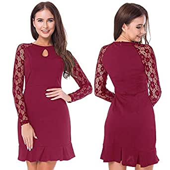 Lace O-Neck Solid Color Office Fishtail Dresses For Women
