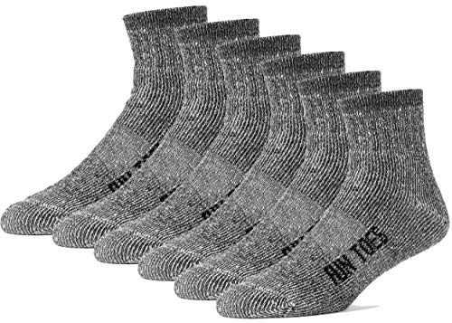 FUN TOES Merino Wool Ankle Socks Pack of 6 Arch Support and Cushioning Heel to Toe Reinforcement Ideal for Hiking (Black, Men 10-13) ()
