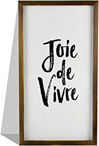 EricauBird Joie De Vivre Wood Sign, French Citation Sign, Decorative Home Wall Art, Framed Sign for Home Wedding Party Farmhouse, Personalized Housewarming Gift, 12x22